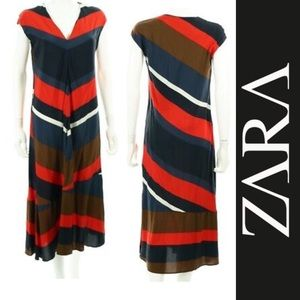 ZARA Basic Wide Stripe V-Neck Red Blue Brown Dress
